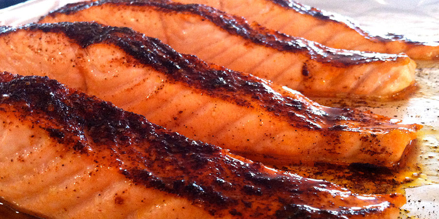 Slow Baked Chilli Cacao Salmon